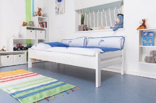"""Lit pour enfant/ lit adolescent """"Easy Sleep"""" K1/1n, en hêtre massif peint en blanc - Dimensions: 90 x 200 cm"""