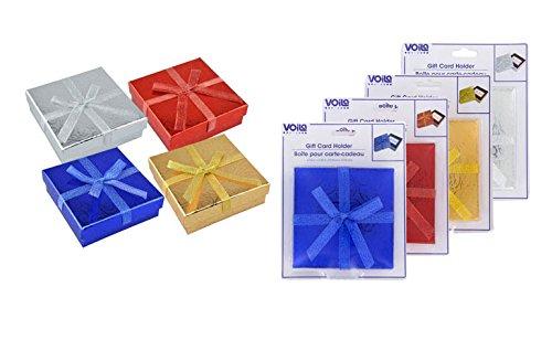 [해외]리본으로 축제 크리스마스 호 일 선물 카드 소지자 (4 개 세트)/Festive Christmas Foil Gift Card Holders with Ribbons (Set of 4)