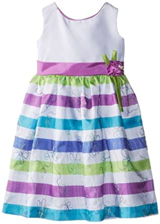 Jayne Copeland Little Girls' Party Dress with Stripes and Flower Corsage At Waist, Multi, 4