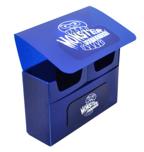 Monster Protectors Trading Card Double Deck Box with Self-locking Magnetic Closure - Blue (Fits Yugioh, Pokemon, Magic the Gathering Cards)