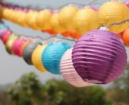 New Solar Powered 20 Led Multi Mixed Colors Mini Round Paper Chinese Lantern Fairy Light String