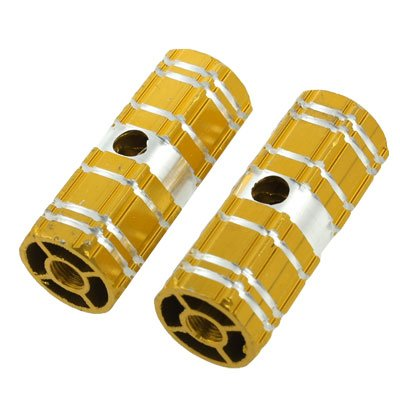 Como 2 Pcs Aluminum Antislip Bicycle Axle Foot Pegs Gold Tone