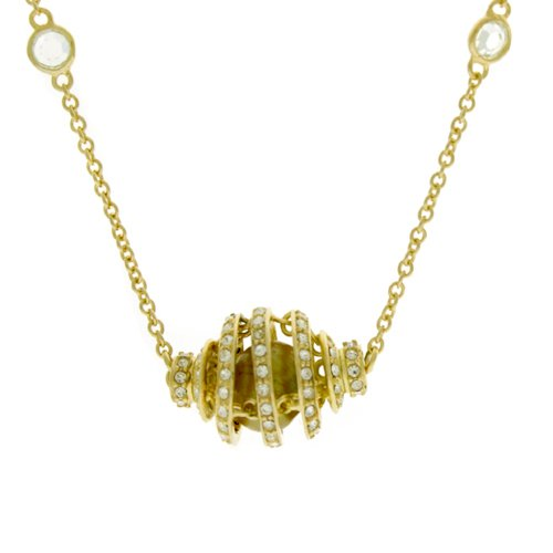 Unique Silver Plated Gold 24k Necklace with Swirl Pendant Adorned with Swarovski CZ Diamond Crystals Freshwater Pearl Bucasi
