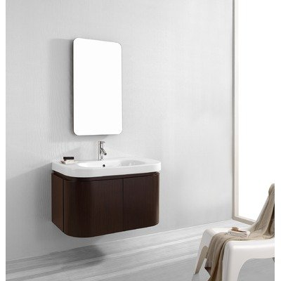 Virtu USA ES-1836-WA Marvella 36-Inch Wall-Mounted Single Sink Bathroom Vanity and Mirror, Ceramic Countertop with Integrated Basin, Walnut Finish