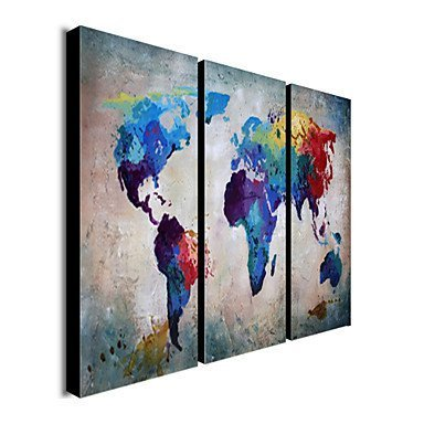 Sanbay Art Hand Painted Colorful Oil Paintings on Canvas A Map of The World Wooden Framed Inside Quickly to Hang Modern Artwork for Living Room and Home Wall Decoration