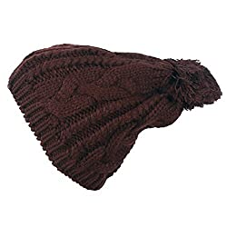 WishCart Knit Cap for Girls and Womens Knit Beanie Crochet Rib Pom Pom Hat (Brown)