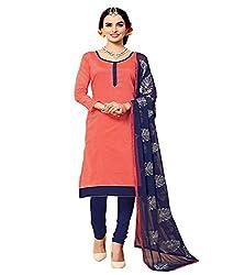 Krishna Present All New Design Of Peach Color Cotton Dress Material With Dupatta..