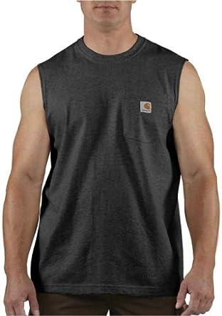 Carhartt Men's Big & Tall Workwear Pocket Sleeveless T Shirt, Black, XXX-Large