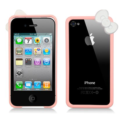 Cell Accessories For Less (Tm) For App Iphone 4 Frame With Pink Bow, Black + Bundle (Stylus & Micro Cleaning Cloth) - By Thetargetbuys