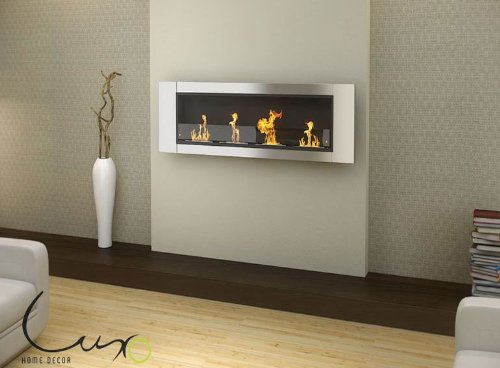 Read About Luxo Aquaria Deluxe Luxury 64 Wall Mounted Bio Ethanol Fireplace - 4 Burner
