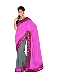 De Marca Grey And Pink Art Silk Designer G-337 Saree