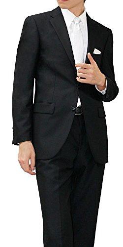 (メイシン)meisin オールシーズン 2つボタン シングルフォーマル アジャスター付 メンズ ブラックスーツ 喪服 礼服 AB6 (ややゆったり/Lサイズ)