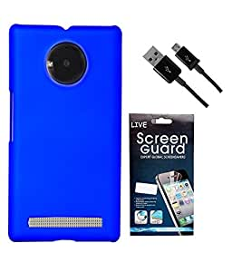 Hermit Back Cover Plus Data Cable Plus Screen Guard For Micromax YU Yuphoria -Blue