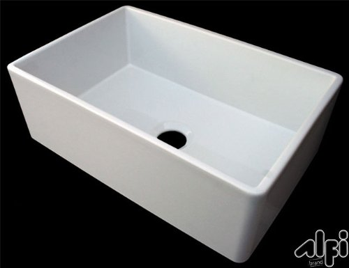 ALFI brand AB510 30-Inch  Contemporary Smooth Fireclay Farmhouse Kitchen Sink, White