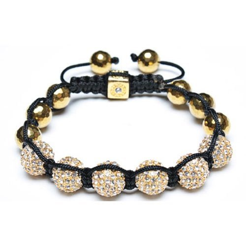 Bling Jewelry Gold Faceted Beads Swarovksi Crystal Bead Unisex Shamballa Bracelet 10-12mm