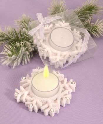 Winter Theme Candle Holder Wedding Favors - Snowflakes, 18