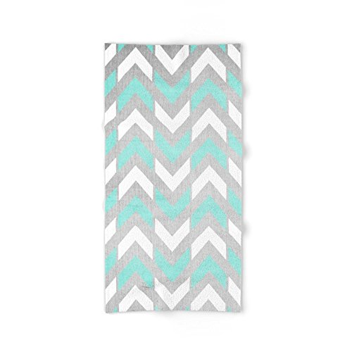 Society6 Teal & White Herringbone Chevron On Silver Wood Bath Towel
