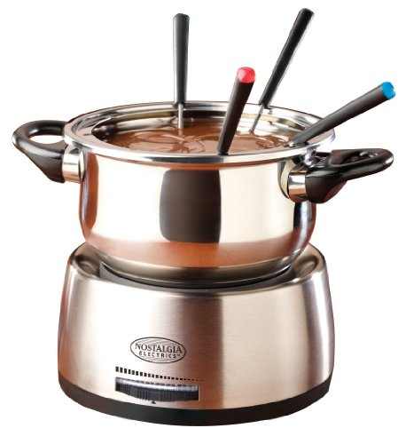 Make Easy Dairy Free Chocolate Fondue in a Nostalgia Family Size Stainless Steel Electric Fondue Pot