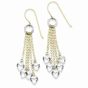 Amazon.com: 14K Two Tone Gold Circle 5 Heart Shepherds Hook Dangle