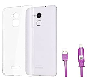 Ceres Crystal Clear Case Soft Flexible TPU Back Cover for Coolpad Note 3 with 2 In 1 Data Cable (Micro USB & Lighting) (Transparent)