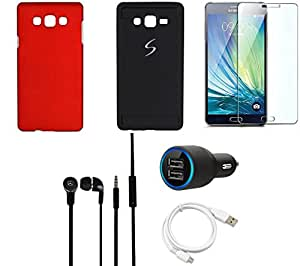 NIROSHA Tempered Glass Screen Guard Cover Case Car Charger Headphone USB Cable for Samsung Galaxy ON7 - Combo