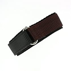 Watch Band Nylon One Piece Wrap Sport Strap Brown Adjustable Velcro 16 millimeter