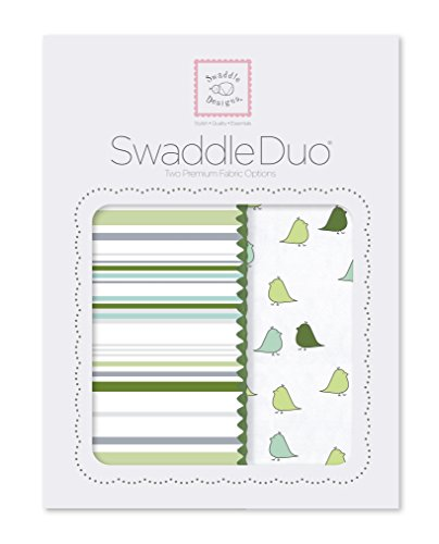 SwaddleDesigns SwaddleDuo, Stripes and Little Chickies Duo (Set of 2 in Pure Green)