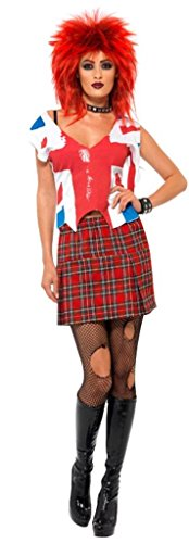 Smiffy's Ms Anarchist British Punk Costume with Top and Skirt - Three Sizes - S, M, L