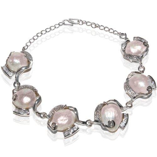 Rhodium Plated Powder Rose Shell Pearl Bracelet