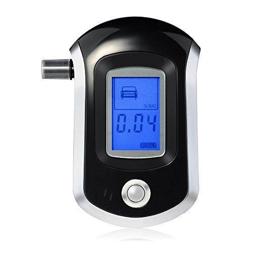 Topop Éthylotest Numérique Alcootest avec Capteur semi-conducteur portable et léger, écran LCD rétroéclairé en bleu + 5 Embouts, arrêt et avertissement automatique, quatre unités de mesure(% BAC, BAC ‰, mg / l, mg / 100 ml)