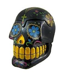 Black Day of the Dead Sugar Skull Mexican Dia De Los Muertos Trinket Box by Fantasy Gifts