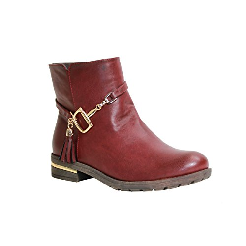 Reneeze Kay-01 Womens Ankle-High Side Tasseled Boots - Red, Size 9