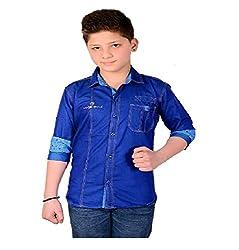 Aedi Little Casual Denim Shirts For Boys (BLU10270_Blue_36)