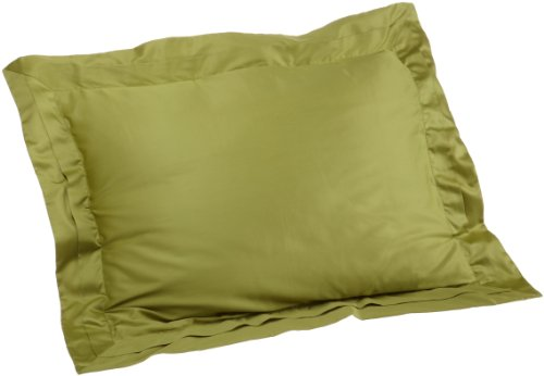 Pinzon Hotel Banded 100-Percent Egyptian Cotton Sateen 20-By-26-Inch Standard Sham, Apple Green