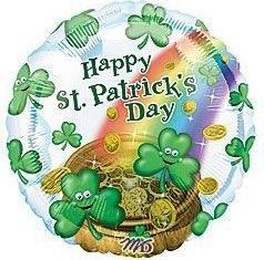 St Patrick's Day Smiley Shamrocks 18-Inch Foil Balloon 2 Pack
