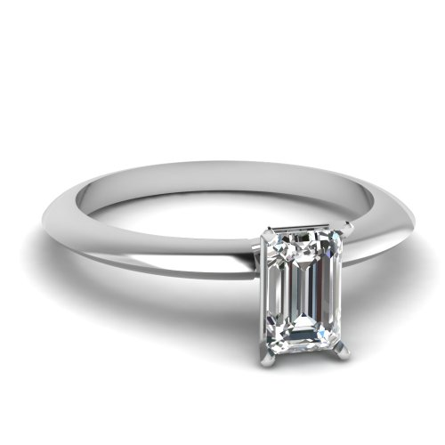 Fascinating Diamonds 0.70 Ct Emerald Cut Diamond Knife Edge Solitaire Engagement Ring Vvs1-G 14K Gia