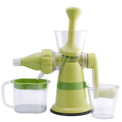 Chefs Star Manual Hand Crank Juicer - Single Auger Juice Press Ideal for Fruit - Vegetables - Wheat Grass - with Suction Base