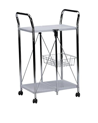 Baxton Studio Watkins Steel Foldable Serving Trolley Cart, Grey