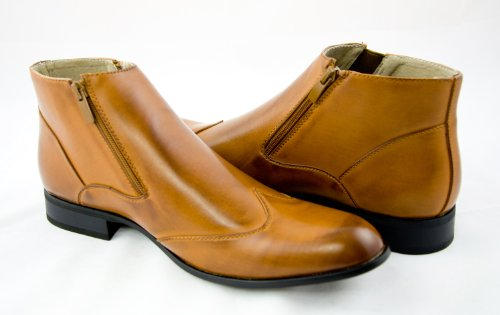 Mens Boots by Majestic . Tan . Real Leather Interior . Zipper Closure