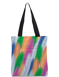 Snoogg Feathers Vector Background Designer Poly Canvas Tote Bag