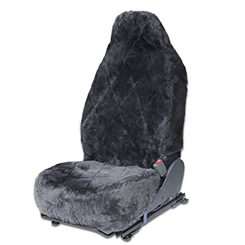 OxGord Sheepskin Seat Covers for Auto Car Tuck Van - Dark Gray - 1pc (Leather Dodge Dart Seat Covers compare prices)
