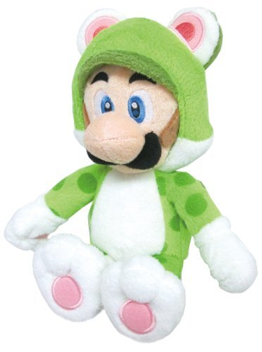 "Sanei Super Mario 3D World Neko Cat Luigi 9"" Plush Doll"
