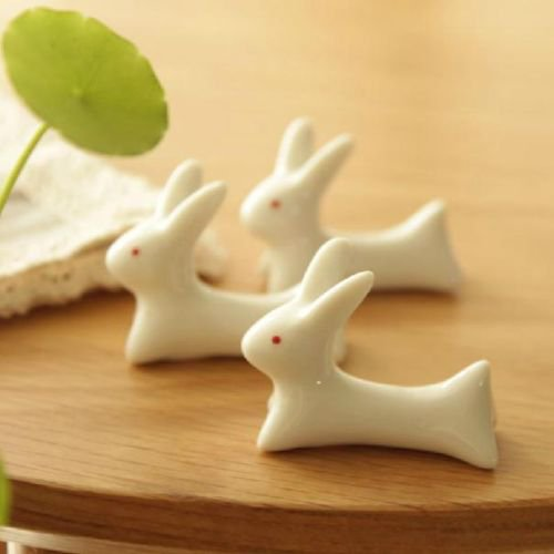 {Factory Direct Sale} (Pack of 6) Cute Japanese Ceramic Ware Rabbit Chopsticks Stand Rest Rack Porcelain Spoon Fork Holder Home Decor New