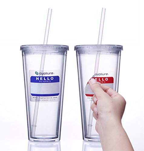 Cupture® Classic Insulated Double Wall Tumbler Cup with Lid, Reusable Straw & Hello Name Tags - 24 oz, 2 Pack (Clear) (Cups With Lids And Straws compare prices)