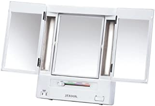 Jerdon JGL9W Tabletop Tri-Fold Two-Sided Lighted Makeup Mirror with 5x Magnification and 4-Light Settings, White Finish