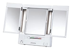 Jerdon Jgl9w Tabletop Tri-fold Two-sided Lighted Makeup Mirror With 5x Magnification And 4-light Settings