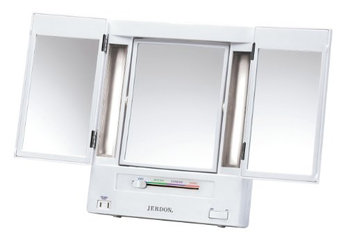 Jerdon JGL9W Tabletop Tri-Fold Two-Sided Lighted