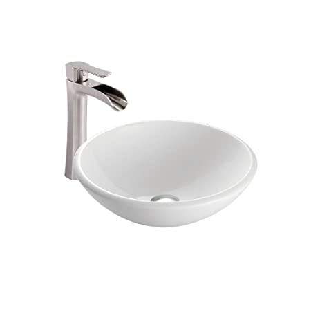 VIGO White Phoenix Stone Vessel Bathroom Sink and Niko Vessel Faucet with Pop Up, Brushed Nickel