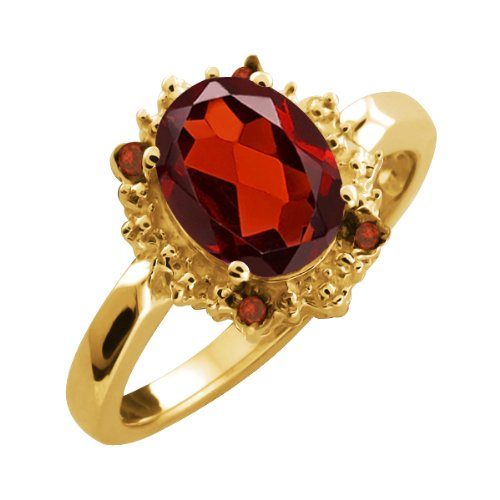 2.03 Ct Genuine Oval Red Garnet Gemstone 10k Yellow Gold Ring
