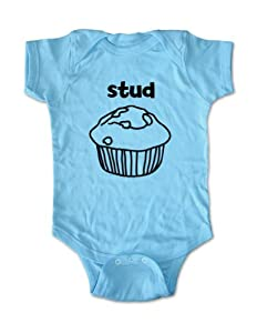 stud muffin cute funny baby one piece bodysuit (18 Months, Light Blue)